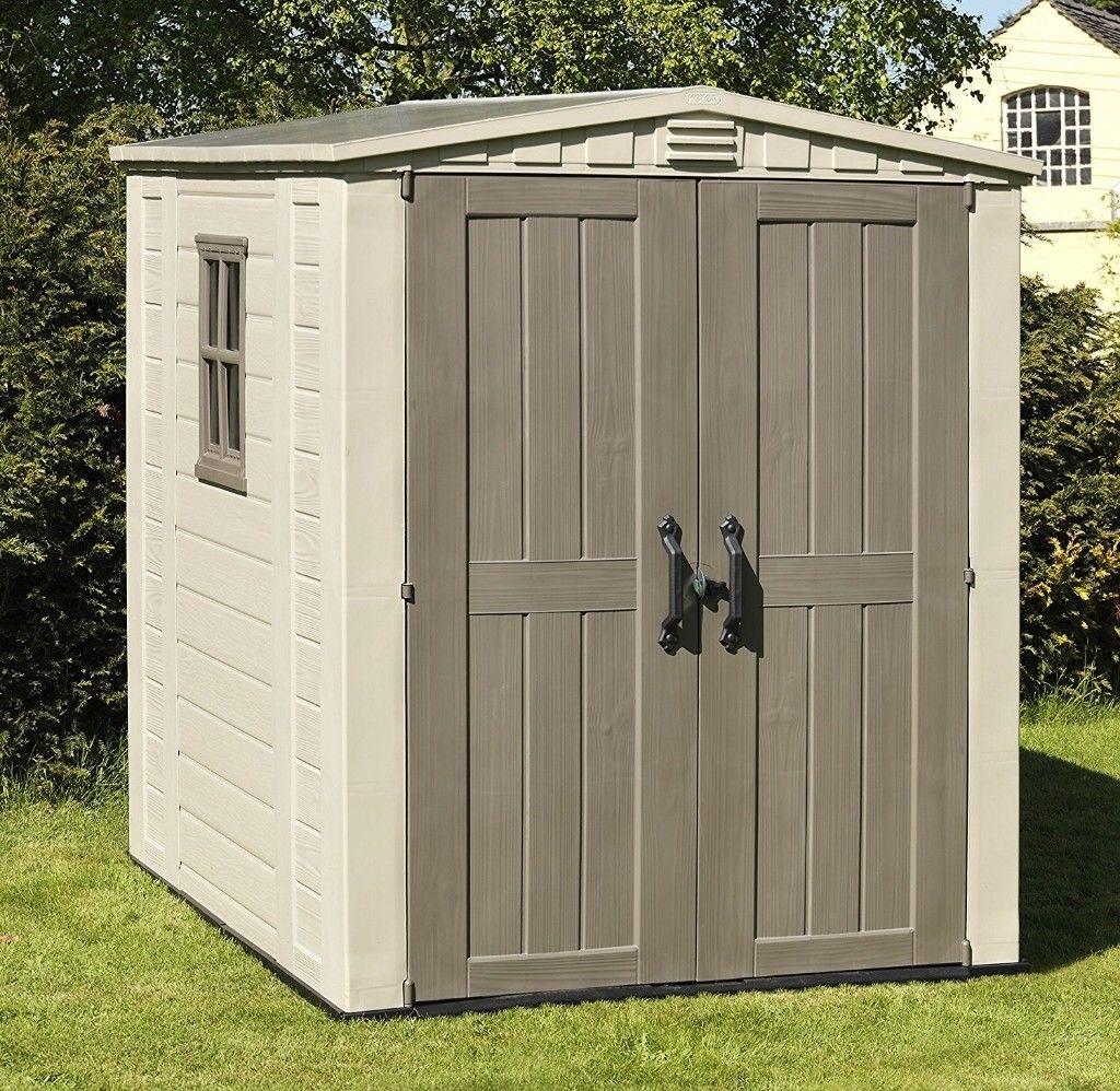 Keter Factor Resin Outdoor Garden Storage Shed 6 X 6 Feet Beige Hardware Heaven